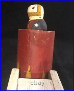 Vintage Folk Art Wolf Creek Circus Cannon Dinah Might Wood Sculpture Marked