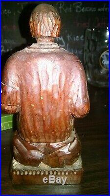 Vintage Folk Art Wood carving blind man playing zither German war wounded