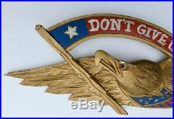 Vintage Folkart Hand Carved Wooden Eagle Dont Give Up The Ship Us Navy Plaque