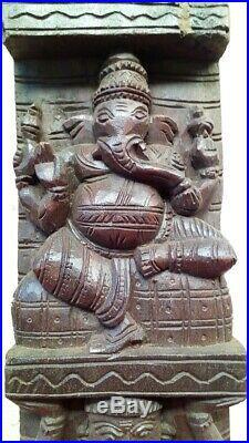 Vintage Ganesh Wooden Wall Vertical Panel Pair Hindu God Sculpture Statue panel
