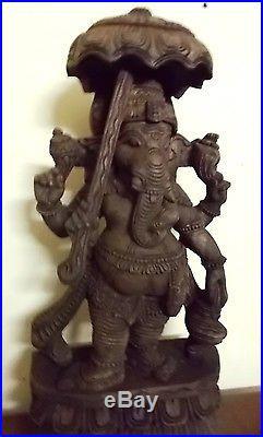 Vintage Ganesha Sculpture HinduGod Umbrella Ganesh Statue Carved Temple Figurine