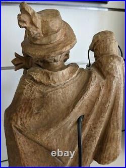 Vintage German Black Forest Hand-Carved Nightwatcher Sculptural Lamp