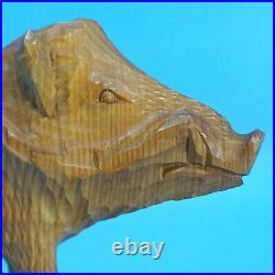 Vintage German Black Forest Wood Hunt Carving WILD BOAR RAZORBACK