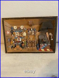 Vintage German Diorama Shadow Box Hand Painted / Hand Carved Folk Art