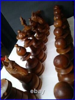 Vintage Giant Staunton Teak Rose Box wood carved chess men set 7.5 KingMen Only