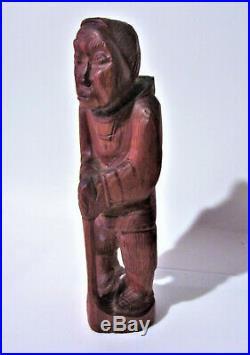 Vintage Greenland Inuit''Man & Woman'' Wood Carving Indigenous Eskimo Art