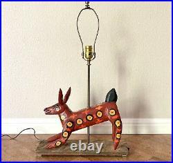 Vintage Guatemalan Folk Art Primitive Wood Sculpture Lamp Red Coyote Alebrije