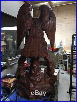 Vintage HAND CARVED wood American Eagle 4 ft tall Statue Sculpture Carving