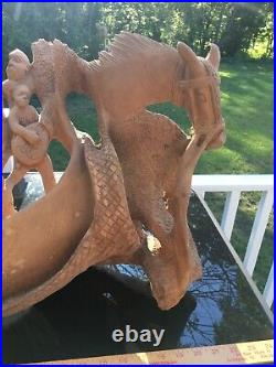 Vintage Haitian Nacius Joseph Signed Carved Wood Folk Art Sculpture Huge