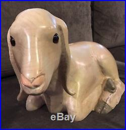 Vintage Hand Carved Painted LEO KOPPY White Nubian Goat Carved Wood Sculpture