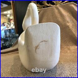 Vintage Hand Carved & Painted Wood Swan Sculpture Kennebunk Maine Sandy Burne
