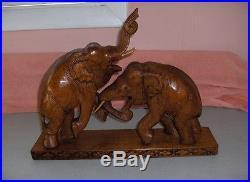 Vintage Hand Carved Wood Elephants Combat Sculpture Statue Figurine