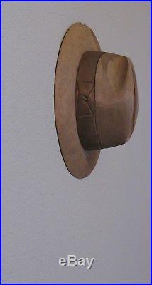 Vintage Hand Carved Wood Life Size Men's Fedora Hat Unusual Sculpture