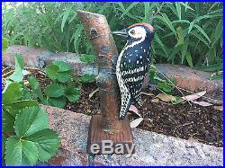 Vintage Hand Carved Wooden WOODPECKER BIRD On Log Sculpture Figurine Danish Art