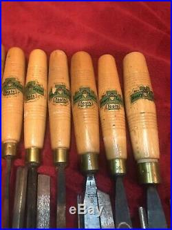 Vintage Henry Taylor Acorn Wood Carving Chisel Set, 18 Pieces, Great Labels