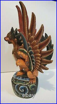 Vintage Hindu Garuda Eagle Wood Statue Balinese 18 Bali Indonesia Sculpture