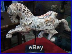 Vintage Horse Jump New Wood Carving Statue Sculpture Figure Home Art Decor gtahy