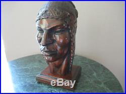 Vintage Inca Warrior Wood Sculpture (flores Arias)
