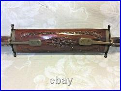 Vintage Indian Meat Carving Set Carved Wood Handles & Base Brass Legs & Trim