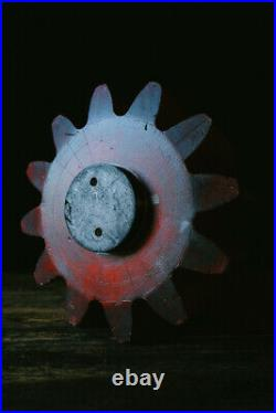 Vintage Industrial Foundry Mould Wheel Pattern Cog Rough Luxe Sculptural