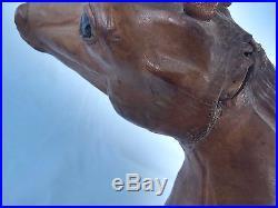 Vintage Italian Leather Horse Sculpture Marche' Paul Bert, Paris Provenance