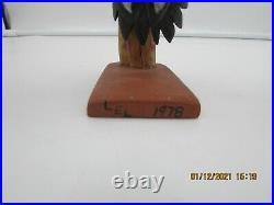 Vintage Ivory Billed Woodpecker Folk Art Carved & Painted Wood Signed LEL 1978