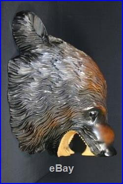 Vintage Japanese Ainu Bear Mask Head Wood Carved Sculpture Fine Details Higuma