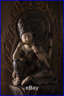 Vintage Japanese Buddha Nyoirin Kannon Bosatsu Wooden Sculpture Okimono Statue