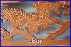 Vintage Japanese Hand Carved Wood Sculpture Ranma Hawk Pine Tree 2 set