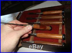 Vintage Japanese Trademark Wood Carving 6 Chisel Set Original Wood Box