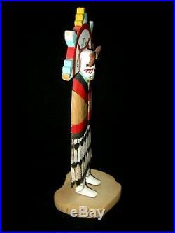 Vintage Kachina Doll Carved Wood Sculpture Signed by Hopi Artist B. Smith