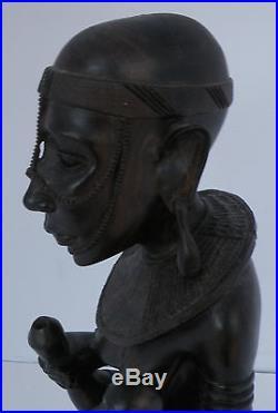 Vintage Kenya Ebony wood carving, statue, sculpture, figure African folk art