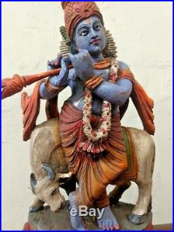 Vintage Krishna Statue Hindu God Temple Wooden Sculpture Handcarved Nandi Murti