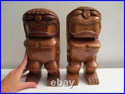 Vintage Large 11 Tiki Wood Carving Hawaiian Fertility God Man & Woman Statues