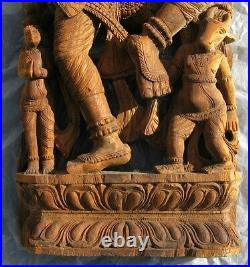 Vintage Large Asian Carved Wood Hindu Goddess Deity Wall Sculpture 47X14 inch
