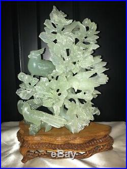 Vintage Large Chinese JADE Sculpture of Carved Birds & Flowers on wood Stand