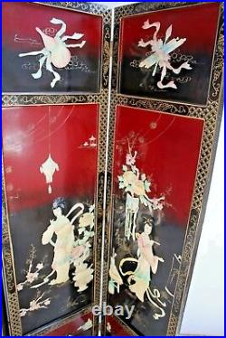 Vintage Large Folding Privacy Screen Room Divider Princess flower theme carving