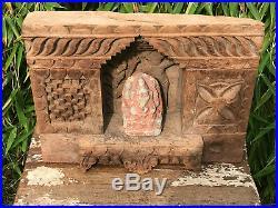 Vintage Large Indian Sacred Hindu Hand Carved Wooden Niche Shrine Ornate Carving