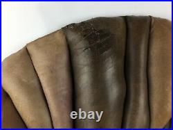 Vintage Large MCM Abstract Wall Art Leather & Wood Organic Sculpture