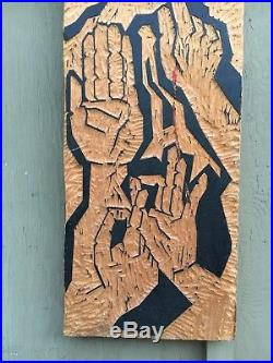 Vintage Large Mid Century Carved Wood Panel HANDS sculpture Woodcut 48 abstract