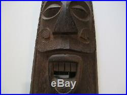Vintage Large Wood Carving Mask Papua New Guinea Island Art Tiki New Zealand
