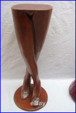 Vintage Life Size Lady Legs Skirt Wood Carving Mystery Folk Art Sculpture Stand