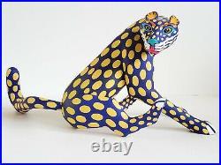 Vintage Luis Pablo Oaxacan wood Jaguar Leopard carving Mexican folk art big cat