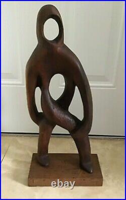 Vintage MCM Hand Carved Wood ABSTRACT SCULPTURE Folk Art Signed