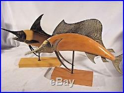 Vintage MCM Mid Century Modern Frederick Cooper Brass & Wood Sailfish Sculptures