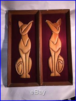 Vintage MID CENTURY MODERN matched pair Framed CAT Sculptures SIAMESE