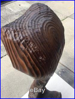 Vintage MID Century Modern Huge 33 Wood Cat Sculpture Glass Eyes Tiki