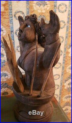 Vintage Mexican'Anima Sola' Spanish Santos Glass eyes LARGE Wood Sculpture