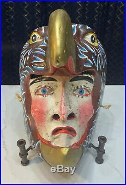 Vintage Mexican Dance Mask Handcrafted Wood Eagle Man Folk Art Sculpture Old