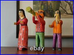 Vintage Mexican Folk Art ALEBRIJE wood carving Figures Set of 3 Oaxacan